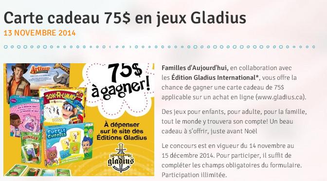 Concours, Gladius, 75$