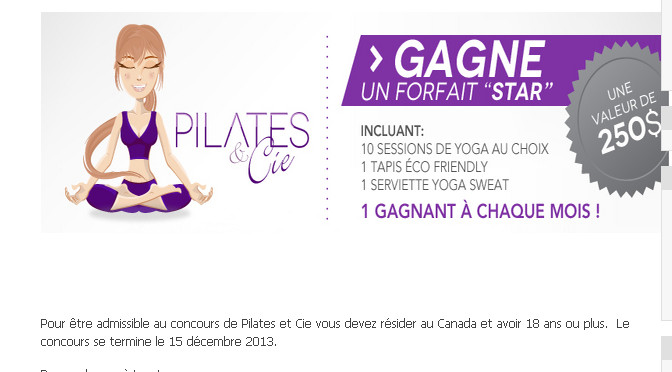 Pilates & Cie, concours, forfait star