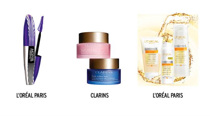 Produits de beauté à ganger L'oréal Paris et clarins