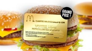 concours Carte Mcdonald's Or