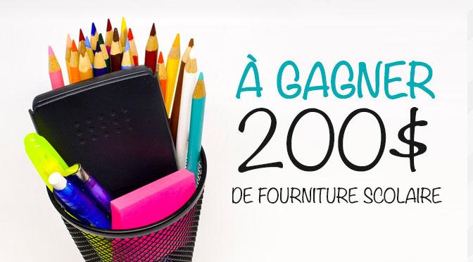 gagnez 200 de fourniture scolaires concours du jour. Black Bedroom Furniture Sets. Home Design Ideas