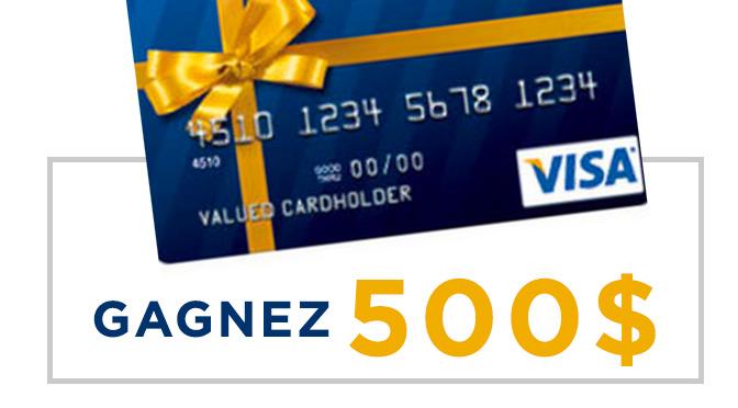 Carte cadeaux visa prépayé de 500$