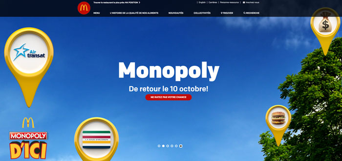 Annonce Monopoly d'ici Mcdonald 2018