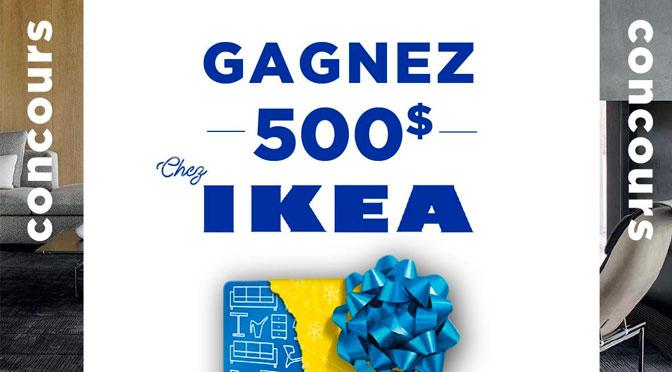 Gagnez une carte cadeau d'une valeur de 500 $ applicable chez IKEA