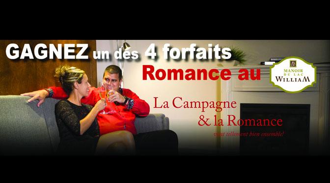 Gagnez l'un des 4 Forfaits Romance pour 2 au Manoir du lac William
