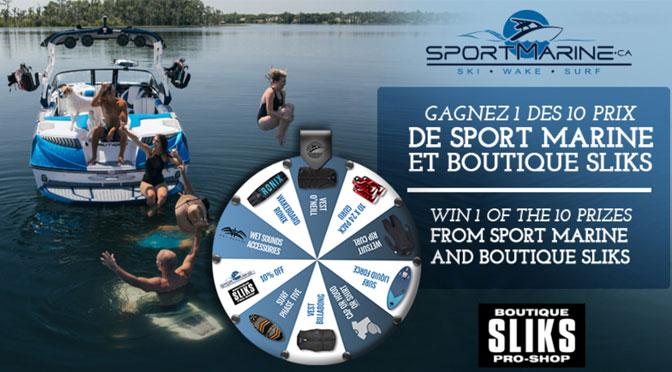 Gagner l'un des 10 prix affichés sur la roue du Concours Sport Marine